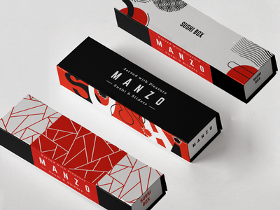 Redesign Packaging for Manzo. sushi bar dieline mailer box sushi packaging vector illustration colorful branding