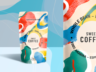 Coffee Packaging food coffee cup arabic grain bean bag pouch packaging flat colorful vector coffee design branding awesome illustration