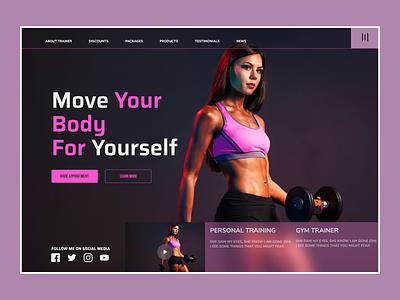Gym or Fitness Trainer Landing Page Concept website minimal web app ux ui design