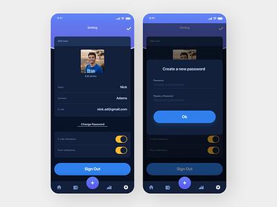 Account Management App flat ui web ux design