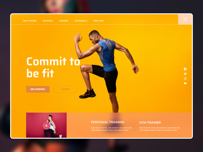 Fitness Web Design new typography flat dailyui minimal app website web ux ui design