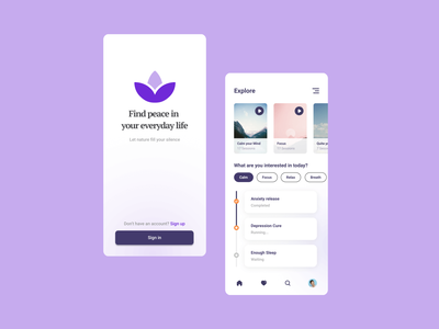 Meditation Concept App simple flat happy health meditation ux ui app design