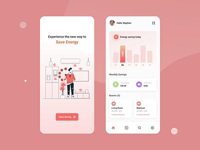 Energy saving concept app energy saving minimal ux ui simple flat design app