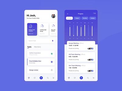 Team Management concept app management coordination work minimal ux ui simple flat design app