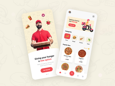 Food Delivery Concept App delivery color hunger food minimal ux ui simple flat design app