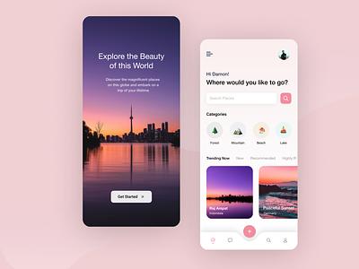 Travel app concept travel app adventure fun travel classy color minimal ux ui simple flat design app