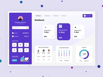 Invoice-dashboard concept design budget management expense transaction desktop income minimal ux ui simple flat design app