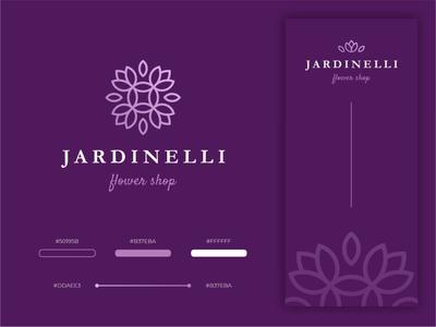 JARDINELLI branding design brand branding purple bouquet store coat of arms pattern leaf sign flower
