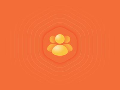 icon people branding brand pictogram circle hexagon transparency orange gradient pattern waves man love application icon logo