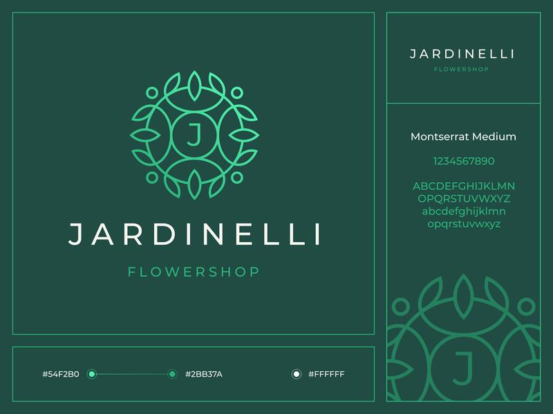 Jardinelli branding gradient floristry shop heraldry coat of arms circle letter green flower leaf plant pattern sign