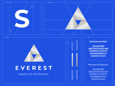 Everest everest logistics metal color branding icon font construction mountain gradient pyramid triangle presentation sign
