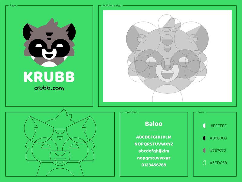 Krubb branding smile sign raccoon mask logo hiwow character animal