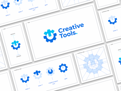 Creative Tools. tool construction negative space letter wrench gear sign branding