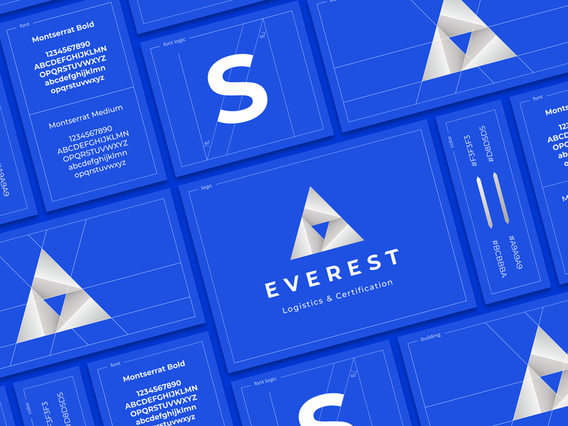 Everest triangle sign pyramid presentation mountain metal logistics icon gradient font construction color branding