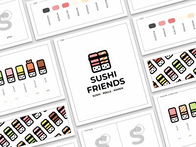 Sushi Friends sushi sign rolls logo japan friends character cartoon branding