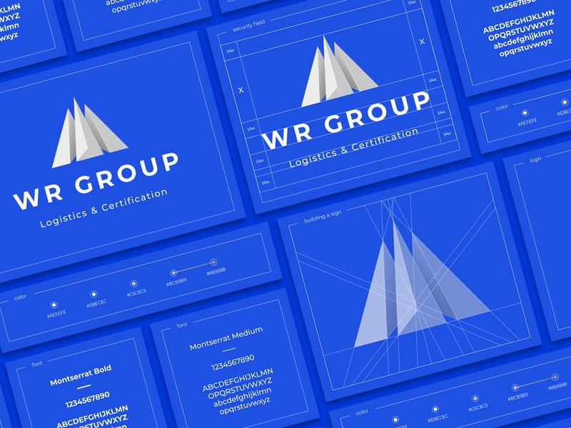 WR Group three stone metal volume pyramid mountain transport company logistics sign logo