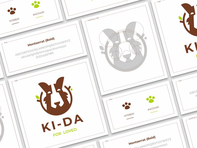 KI-DA color construction tree leaf branch circumference good boy friend pet dog sign logo
