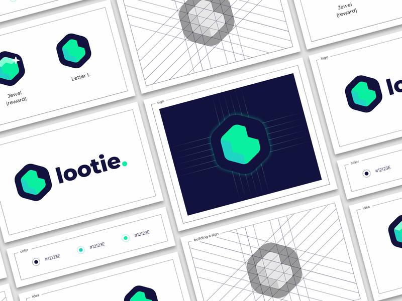 lootie. box grid building presentation jewel emerald diamond l letter award boxing loot sign logo