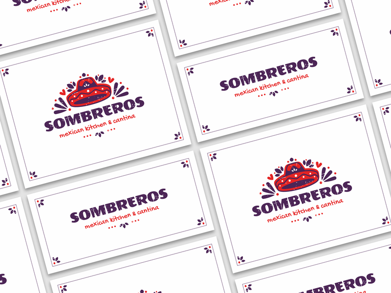 Sombreros branding grunge pattern food cuisine sombrero mexico sign