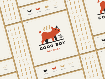 Good Boy fast food food flat steam hot dog sausage animal pet dog branding sign
