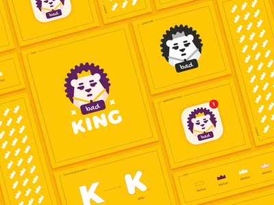Bad King icon thorns pattern circle bad flat crown king animal hedgehog cartoon character branding sign