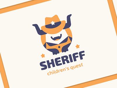 Sheriff star hat cute teeth horns detective cowboy sheriff flat cartoon character monster branding sign