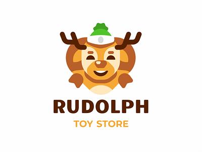 Rudolph horns animal cartoon character hat christmas new year santaclaus rudolph deer branding sign