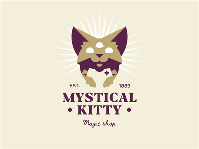 Mystical Kitty kitty shop cartoon flat character glow magic mysticism third eye pet animal cat branding sign