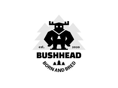 BUSHHEAD medallion pendant forest tree spruce horns character bigfoot yeti sign