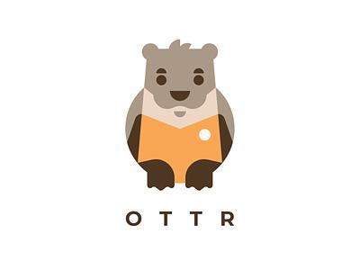 OTTR cute cartoon character nutria otter animal branding sign