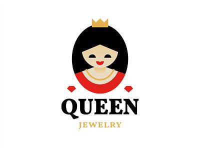 Queen cute character necklace diamond jewelry crown princess queen branding sign