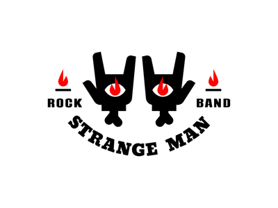 Strange Man hand man band torch tattoo eye fire music bone rock goat branding sign