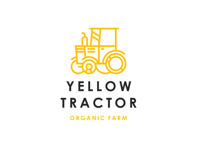 Yellow Tractor line village orange organic farm agriculture yellow machine tractor branding sign logo