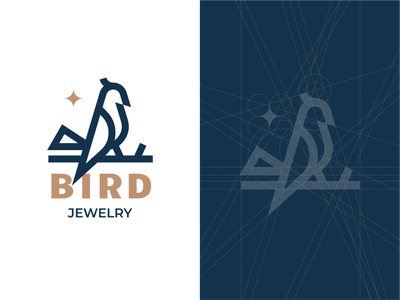 Bird night star minimalism geometry construction line bird branding sign