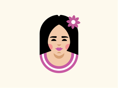 Wai-Thai flat flower hairpin cartoon cute character girl person geometry branding sign