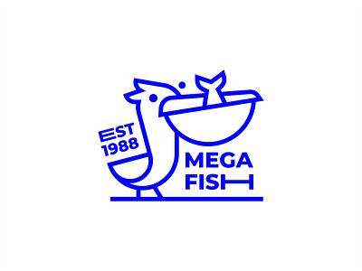 Mega Fish illustration brand branding design stamp mark food blue monochrome line sea fish pelican bird branding sign logo