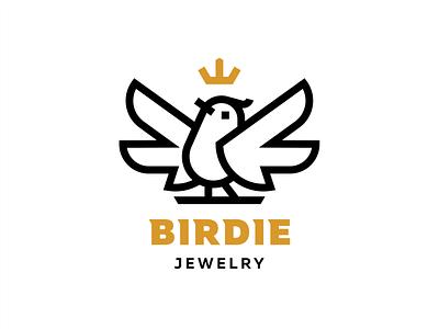 Birdie pin icon wings bird gold crown branding sign