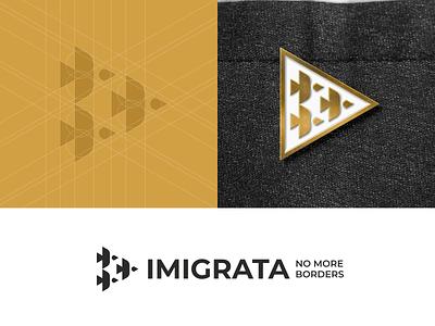 Imigrata branding wing triangle building icon flight wedge birds movement migration emigration sign
