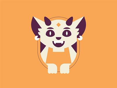 Bertha cat orange illustration earrings horns ears cute cartoon character monster sign logo branding kitty