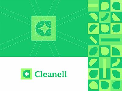 Cleanell sign sanitizer shine cleaan c letter hand logo branding