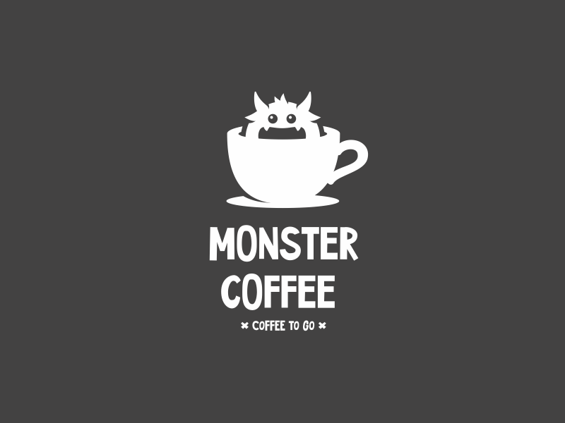 Monster Coffee video peeking monster logo eyes coffee character