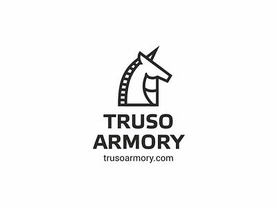 TrusoArmory horse weapons logo horn unicorns the