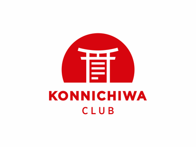Konnichiwa Club information article paper sunrise japan gates port tory logo