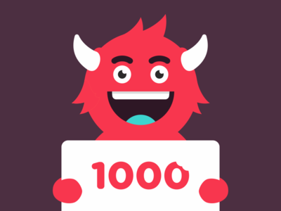 1000 followers you thank illustration monster falover subscribers