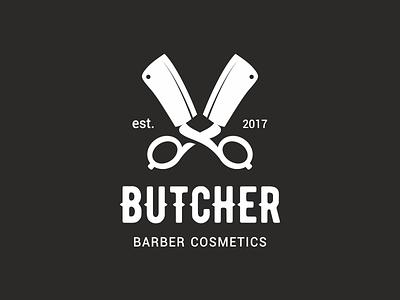 Butcher cosmetics butcher knife cleaver scissors barber barbershop logo