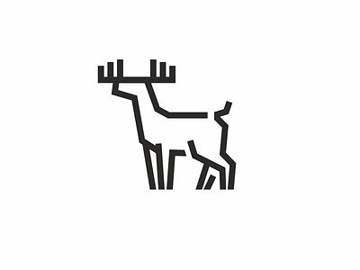 deer animal antler deer line logo