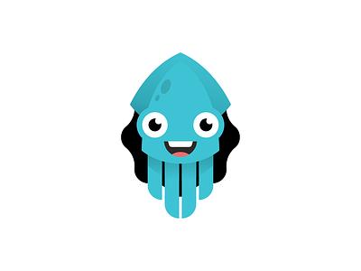 Squid flat arrow character octopus squid illustration logo