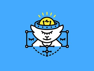 Monster asleep eyes idea cat light bulb vector monster illustration logo
