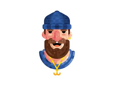 Sailor mustache beard earring hat flat lines sea anchor sailor illustration sign logo