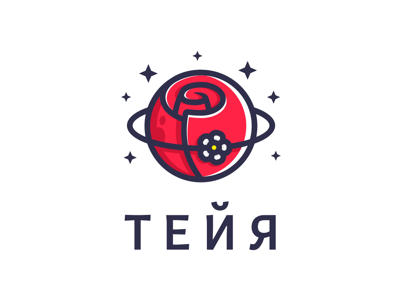 Teya daisy rose satellite stars cosmos planet delivery bouquet flower illustration sign logo